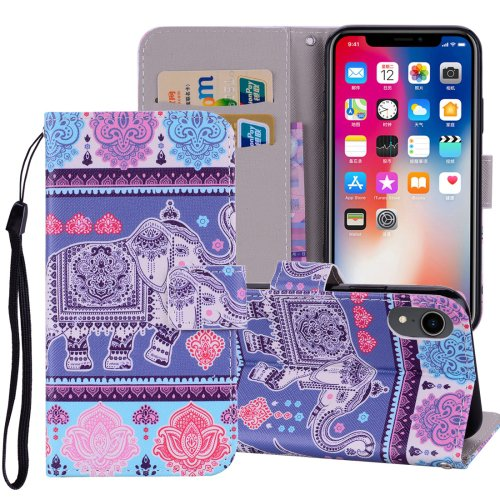 For iPhone XR Elephant Horizontal Flip Leather Case with Holder, Card Slots & Wallet