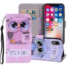 For iPhone XR Cute Owl Horizontal Flip Leather Case with Holder, Card Slots & Wallet