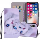 For iPhone XR White Cat Horizontal Flip Leather Case with Holder, Card Slots & Wallet