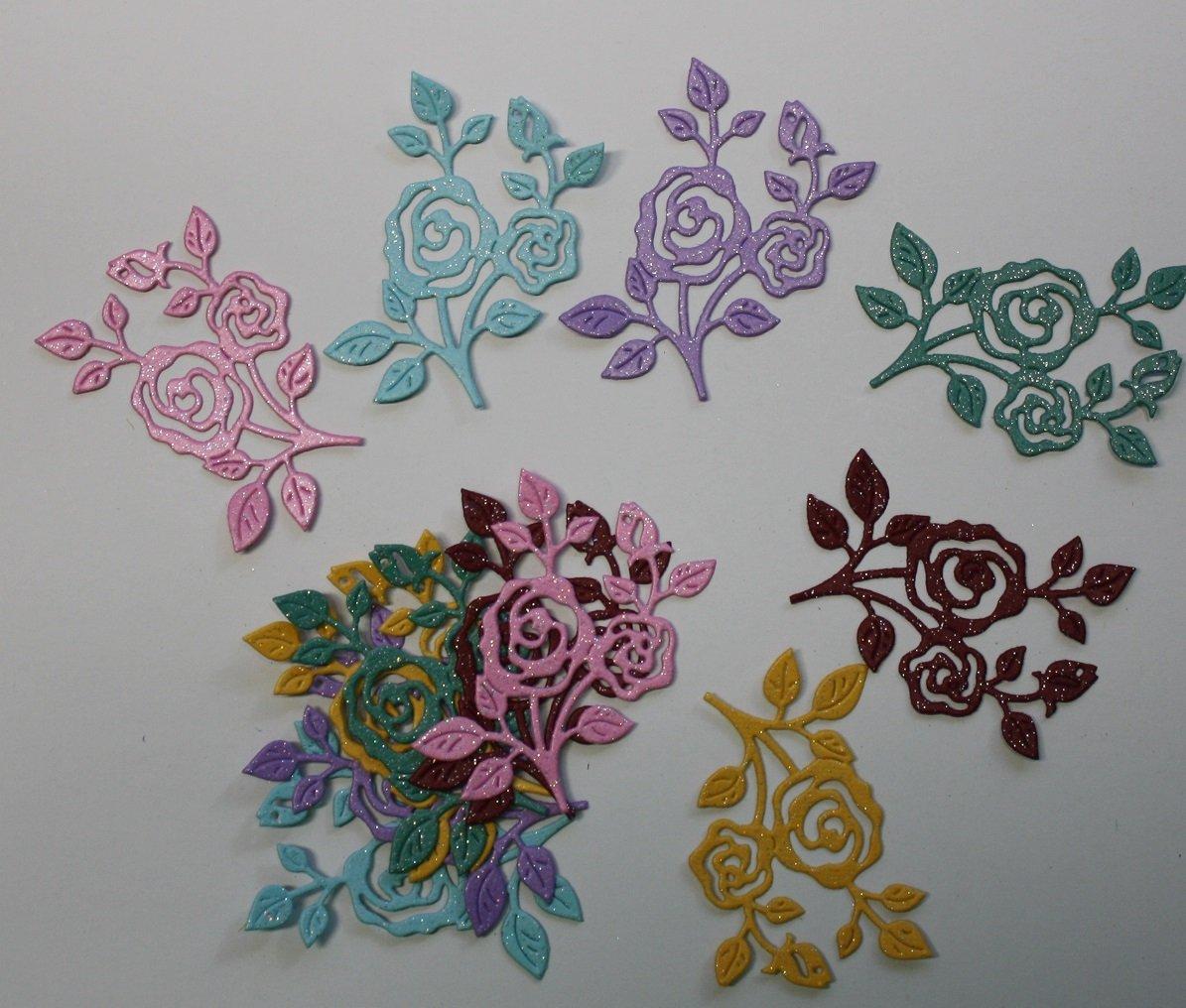 12 Glitter Flowering Vines/Die Cuts/Scrapbooking/flowers/Paper Cuts/Embellishments/Cottage Cutz