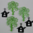 3 Swirly Trees And  3 Birdhouses/Trees/Birdhouses/die cuts/scrapbooking/Cardmaking/Spellbinders