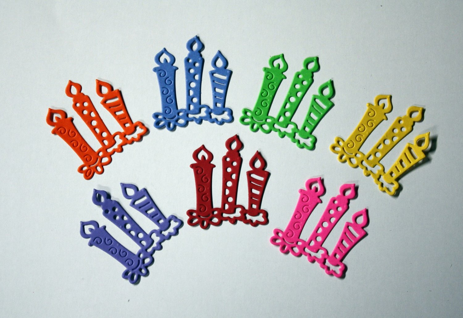 7 Cute Birthday Candles/die cuts/embellishments/scrapbooking/paper cuts/card making/Cottage Cutz