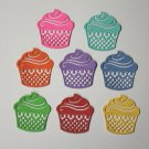 8 Cute Cupcakes/Birthday/die cuts/embellishments/paper cuts/scrapbooking/card making/Cottage Cutz