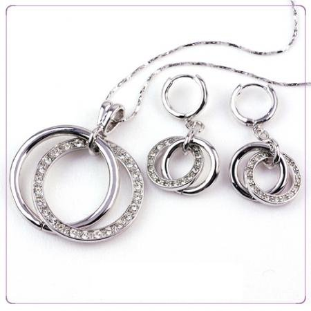 White Gold Plated + Cubic Zirconia