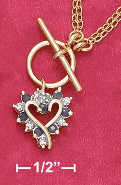 18K Vermeil Necklace with Sapphire Heart Pendant