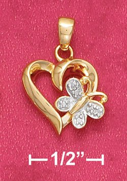 18K Vermeil Necklace with Heart and Butterfly w/Diamond Chips