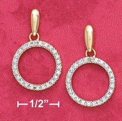 18K Vermeil Dangle Circle Earrings w/Diamond Chips