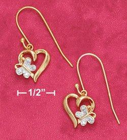 18K Vermeil Heart and Butterfly Earrings w/ Diamond Accent