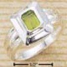 Square Ring with Emerald Cut Peridot