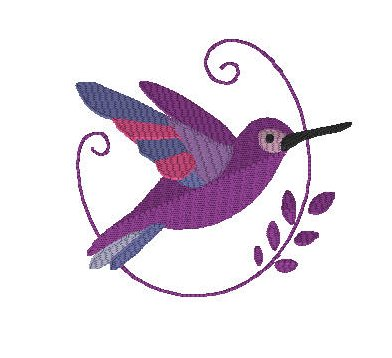 Humming Bird with Swirl Embroidery File