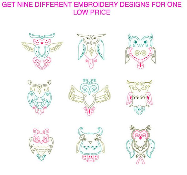 Nine different color work Native Owls Embroidery Designs