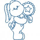 50 % OFF SALE Blue Work Bunny Rabbit with baby rattle Embroidery File