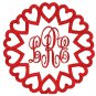 Monogram Heart Frame Embroidery File