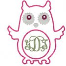 Owl Applique Monogram Frame Embroidery File