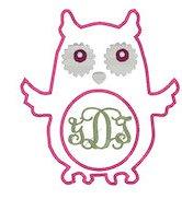 Owl Applique Monogram Frame Embroidery File