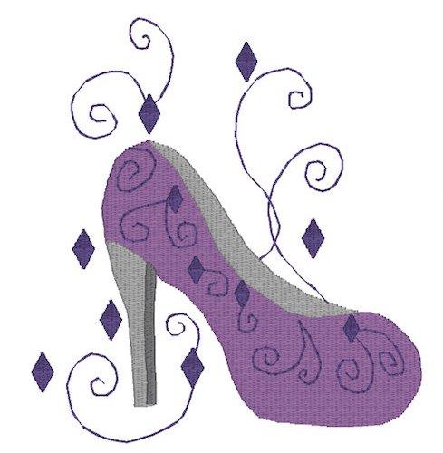High Heel Shoe With Diamond and Swirls Embroidery File