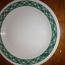 "Corelle Green Plaid Cake Luncheon Bread Butter Plate 7.5"" Beige Excellant"