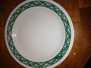 "Corelle Green Plaid Dinner Plate 10"" Beige"