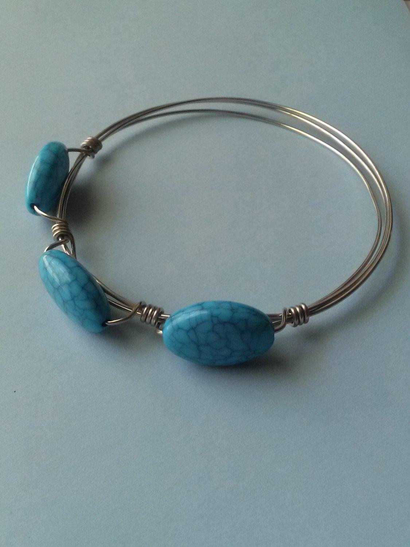 Wire-wrapped Blue Acrylic Bead Bangle Bracelet