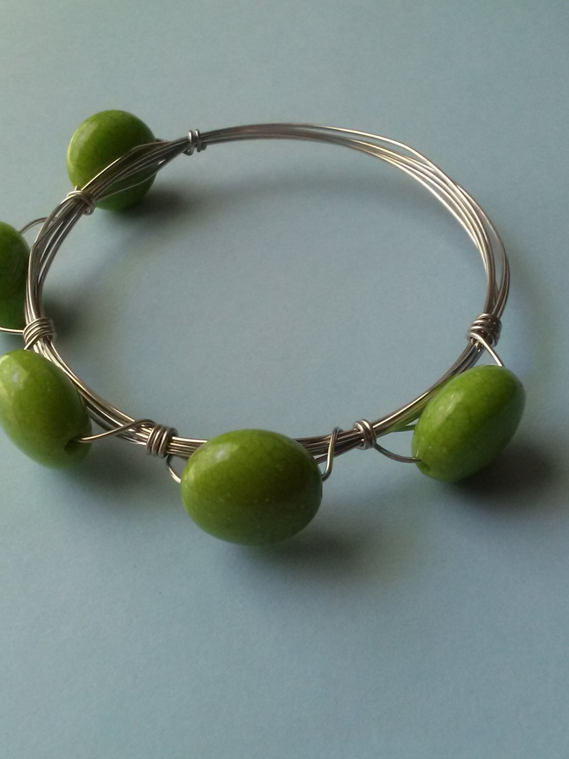 Wire-wrapped Green Acrylic Bead Bangle Bracelet