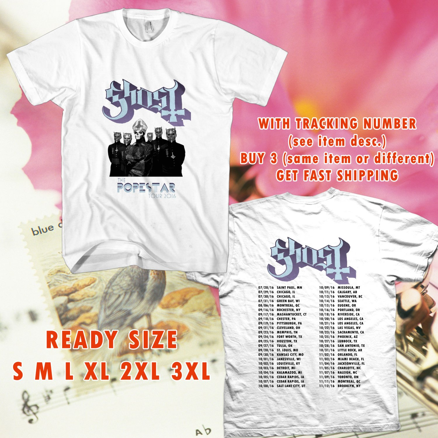 WOW GHOST BAND THE POPESTAR TOUR 2016 WHITE TEE S-3XL ASTR