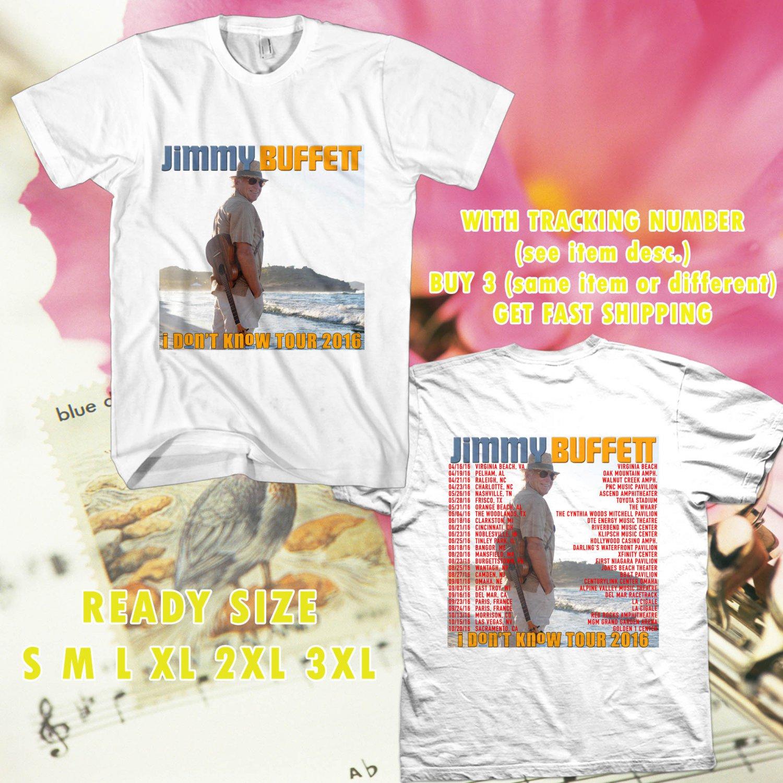 WOW JIMMY BUFFETT I DONT KNOW TOUR 2016 WHITE TEE S-3XL ASTR