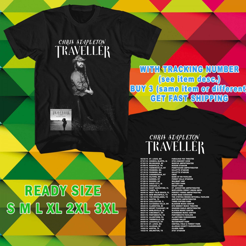 WOW CHRIS STAPLETON THE TRAVELLER TOUR 2016 BLACK TEE S-3XL ASTR