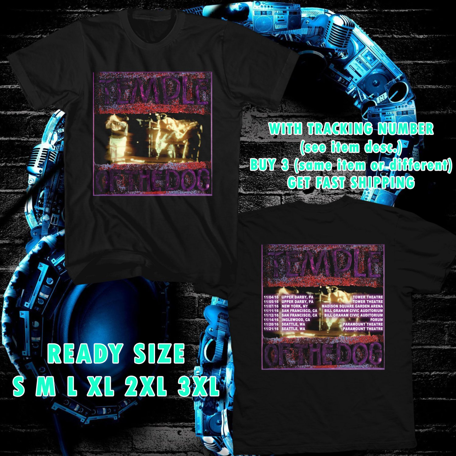 wow temple of the dog tour 2016 black tee s 3xl astr 443. Black Bedroom Furniture Sets. Home Design Ideas