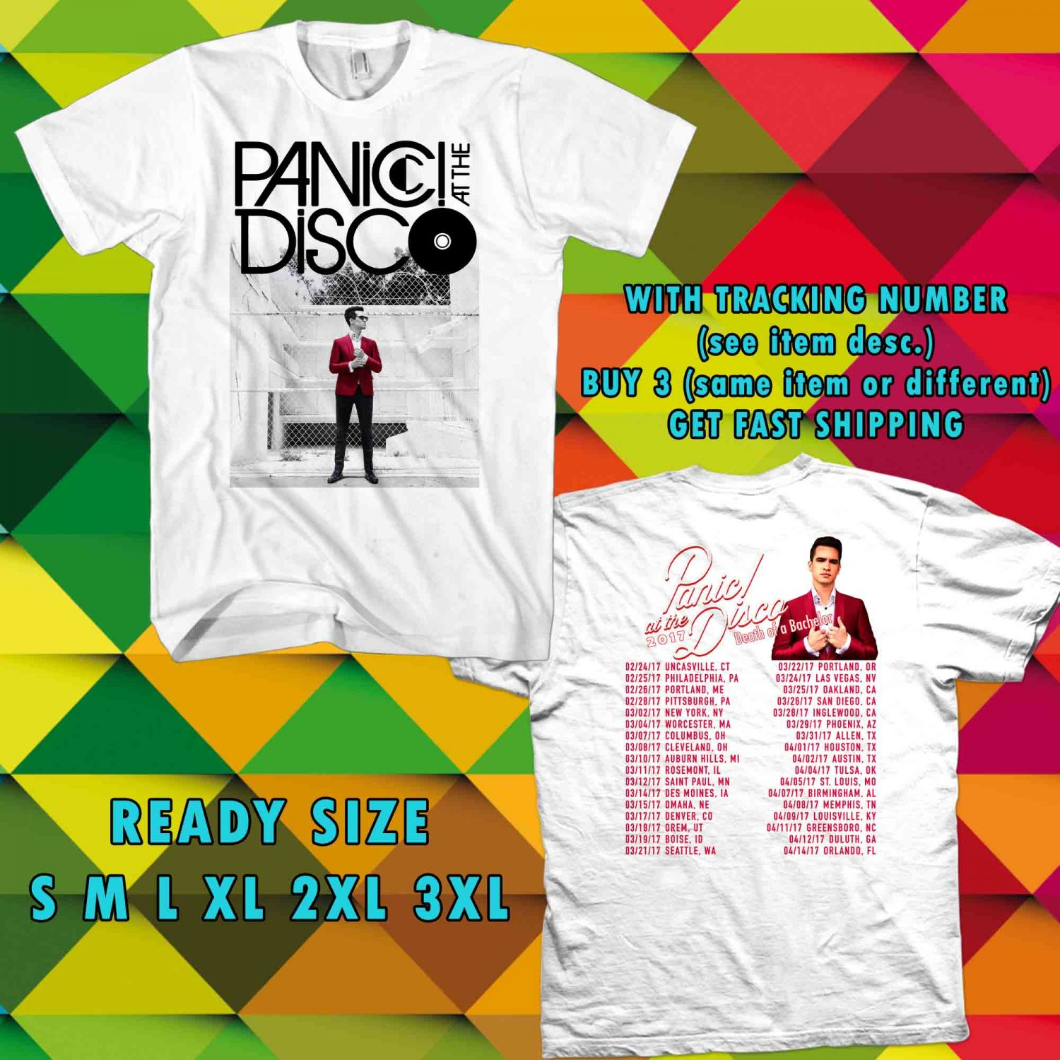 WOW PANIC AT THE DISCO DEATH OF BACHELOR TOUR 2017 WHITE TEE S-3XL ASTR