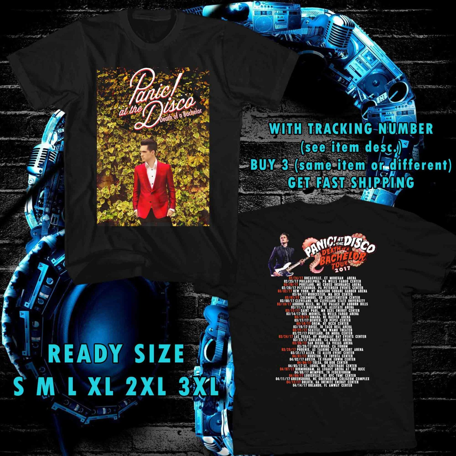 WOW PANIC AT THE DISCO DEATH OF BACHELOR TOUR 2017 BLACK TEE S-3XL ASTR 664