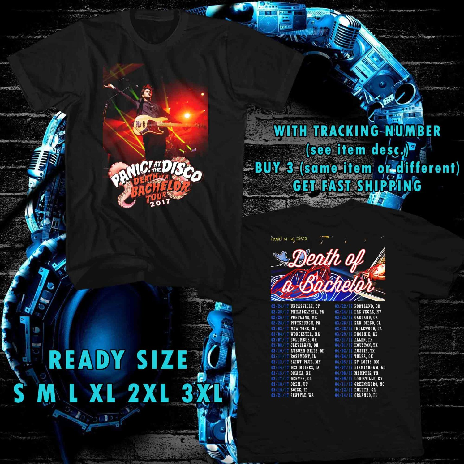 WOW PANIC AT THE DISCO DEATH OF BACHELOR TOUR 2017 BLACK TEE S-3XL ASTR 887
