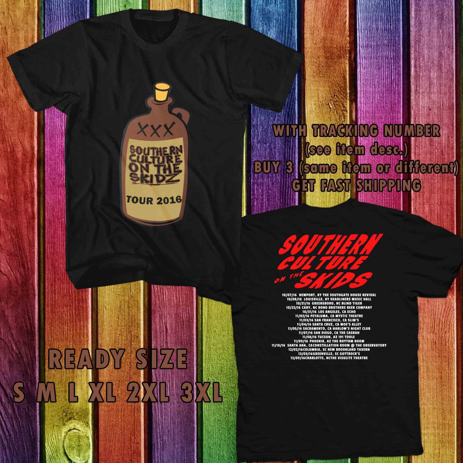 WOW SOUTHERN CULTURE ON THE KIDZ TOUR 2016 BLACK TEE S-3XL ASTR