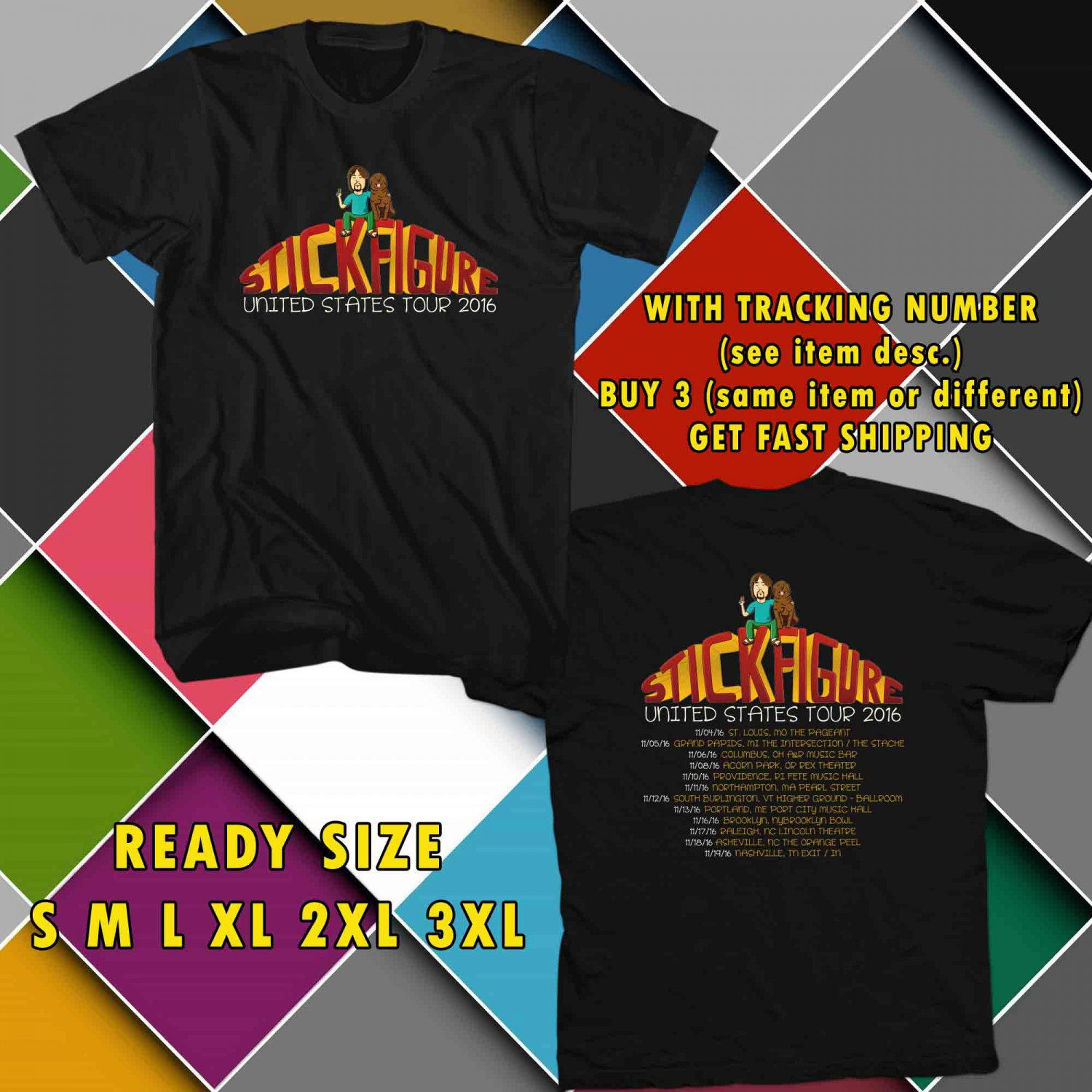 WOW STICK FIGURE REGGAE TOUR 2016 BLACK TEE S-3XL ASTR