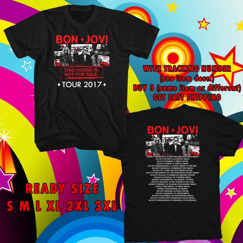 WOW BON JOVI THIS HOUSE NOT FOR SALE TOUR 2017 BLACK TEE S-3XL ASTR 215