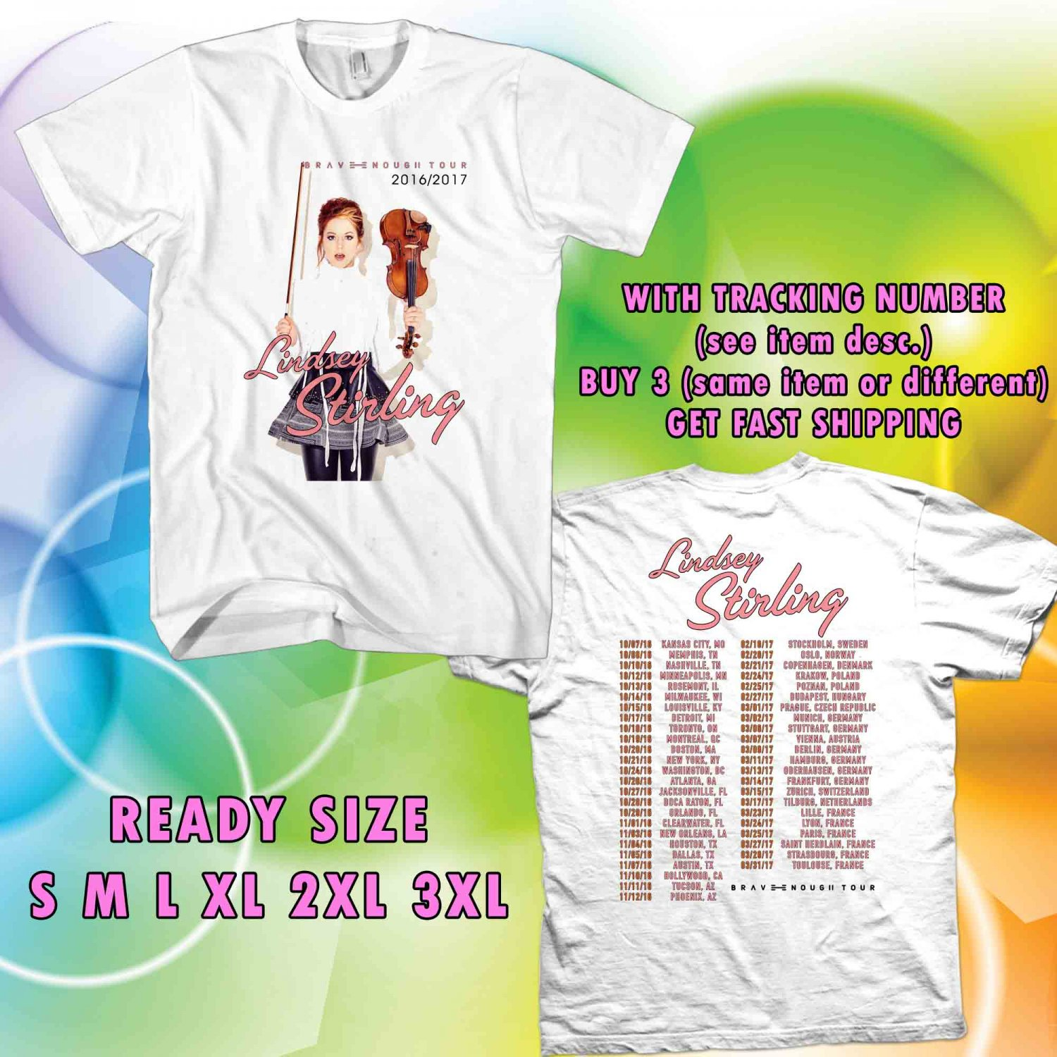 WOW LINDSEY STIRLING BRAVE ENOUGH TOUR 2016-2017 WHITE TEE S-3XL ASTR