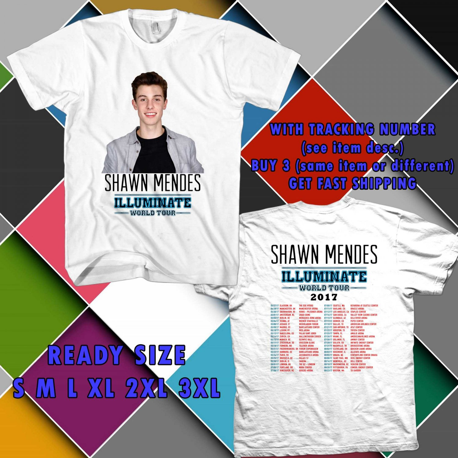 WOW S. MENDES ILLUMINATE WORLD TOUR 2017 WHITE TEE S-3XL ASTR