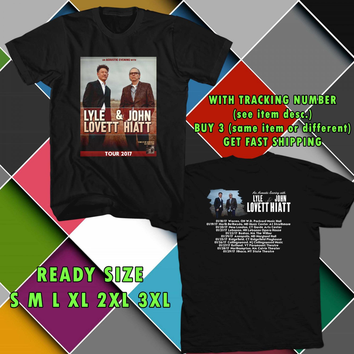 WOW LYLE LOVETT AND JOHN HIATT ACOUSTIC TOUR 2017 BLACK TEE S-3XL ASTR