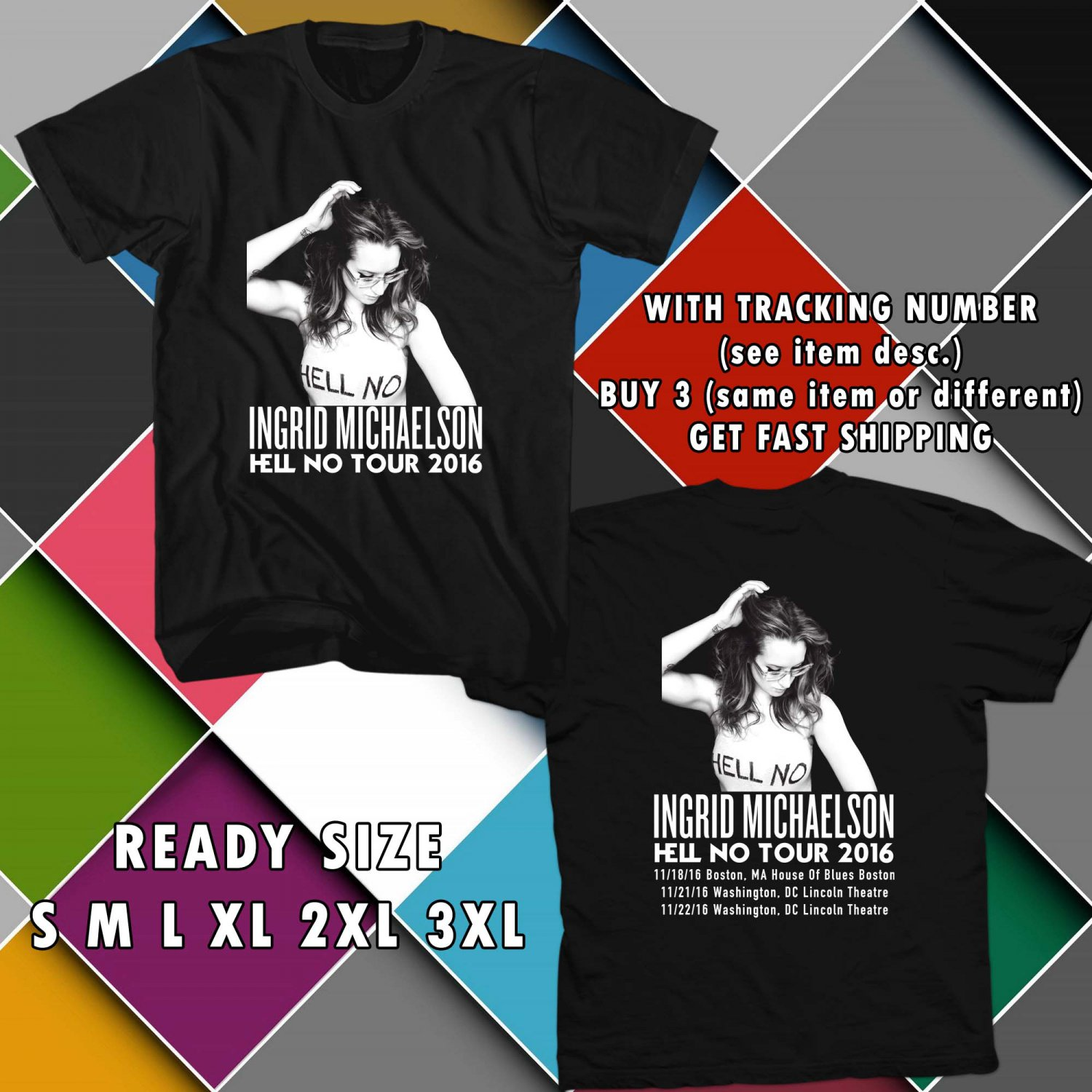 WOW INGRID MICHAELSON HELL NO TOUR 2016 BLACK TEE S-3XL ASTR