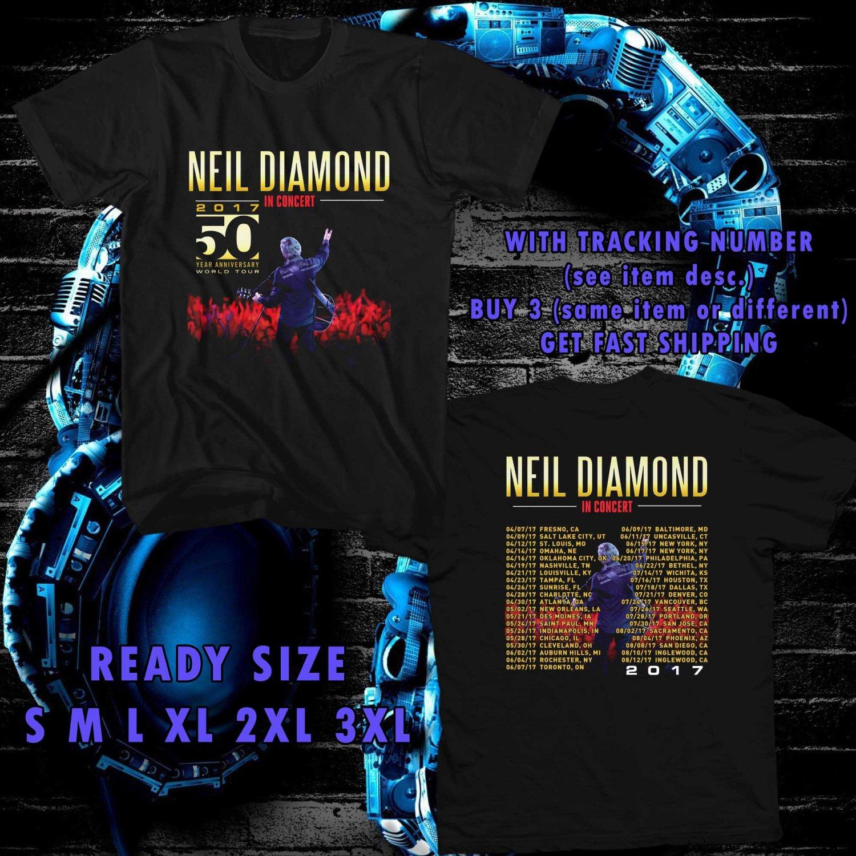 WOW NEIL DIAMOND 50 YEARS TOUR 2017 BLACK TEE S-3XL ASTR 632