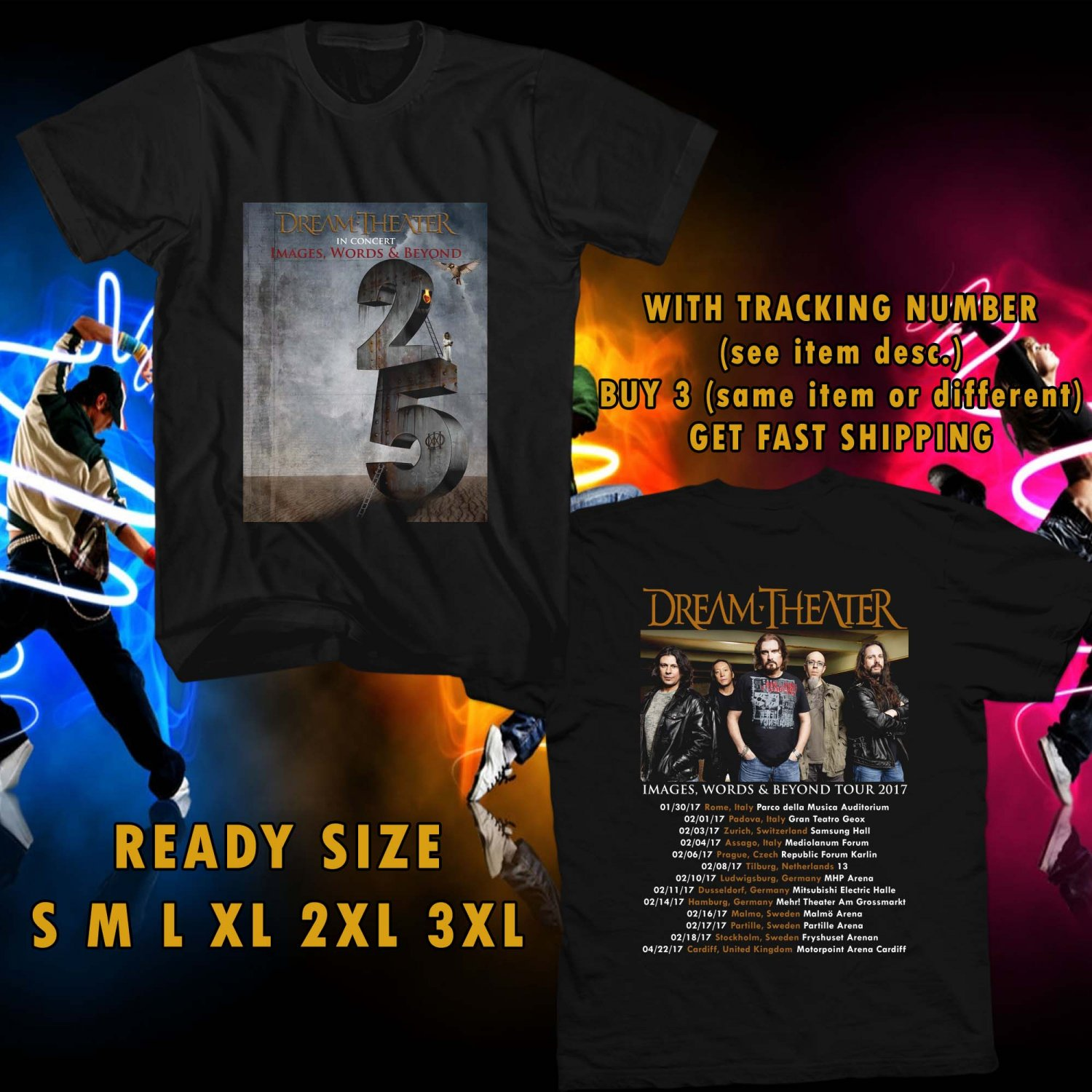 WOW DREAM THEATER:IMAGES,WORDS AND BEYOND TOUR 2017 BLACK TEE S-3XL ASTR 889