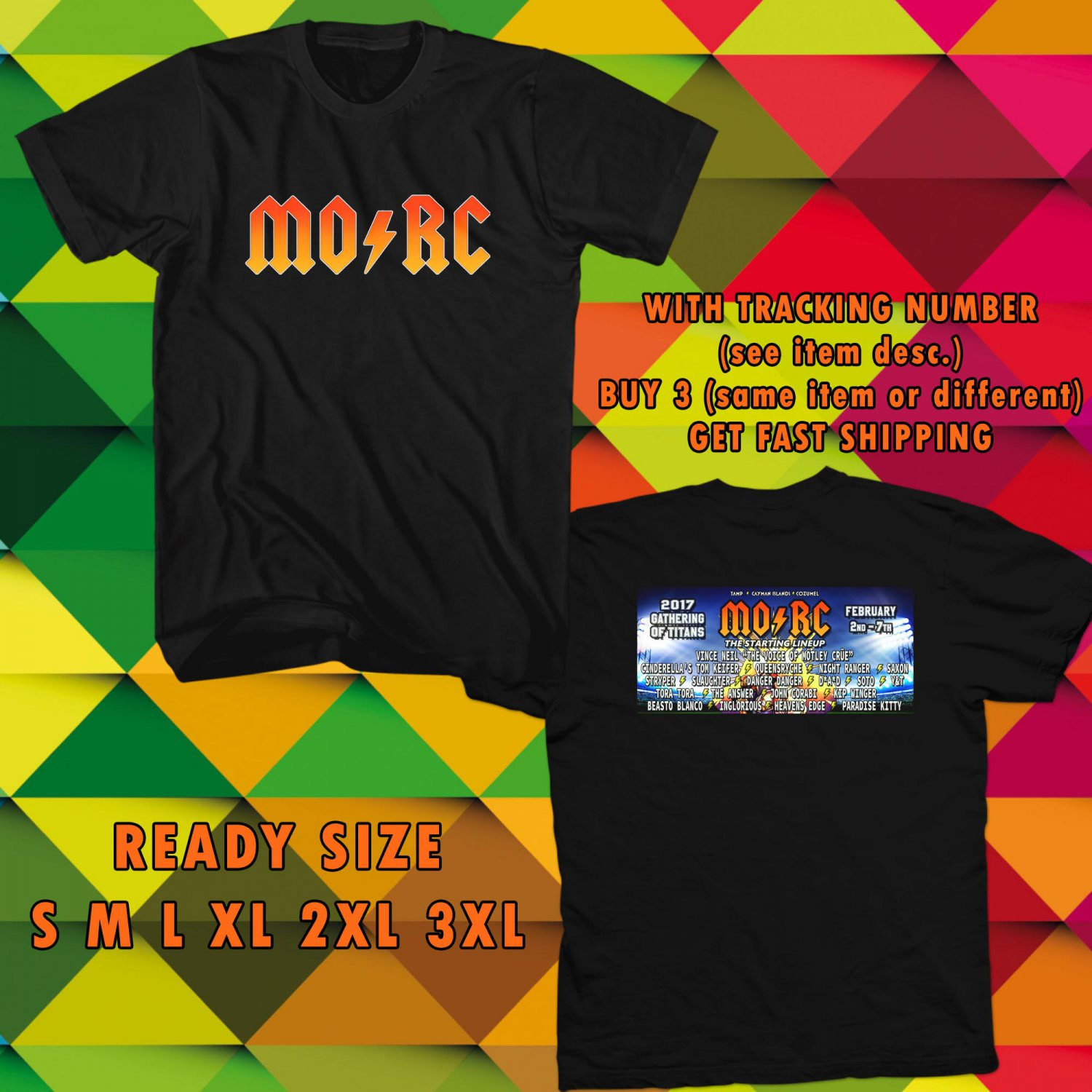 NEW MONSTER OF ROCK CRUISE TOUR 2017 BLACK TEE W DATES DMTR 111