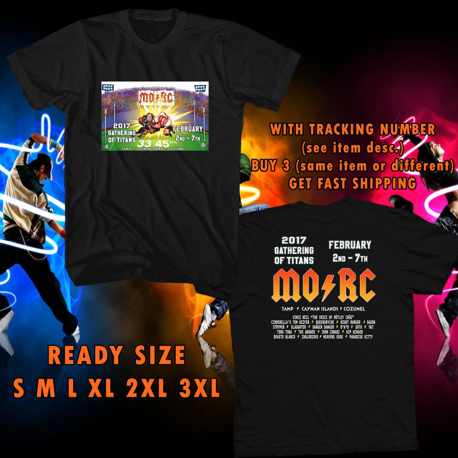 NEW MONSTER OF ROCK CRUISE TOUR 2017 BLACK TEE W DATES DMTR 112