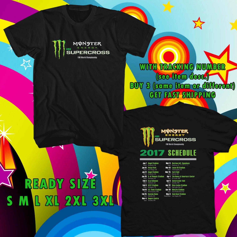 NEW AMA SUPERCROSS TOUR 2017 BLACK TEE W DATES DMTR