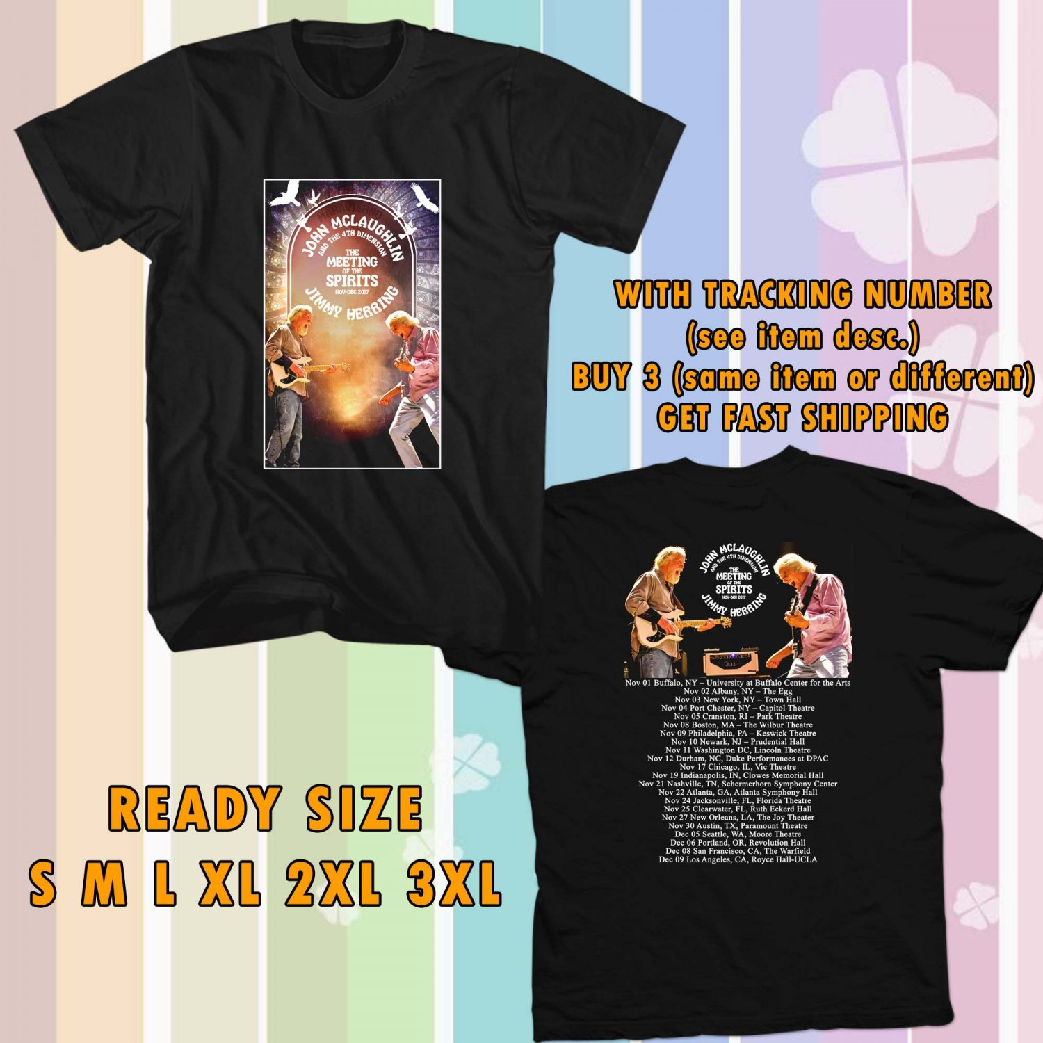 WOW JOHN MCLAUGLIN AND JIMMY HERRING THE MEETING OF SPIRITS TOUR 2017 BLACK TEE S-3XL ASTR