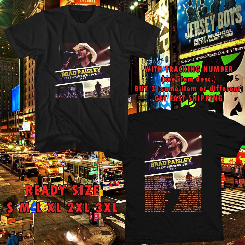 WOW BRAD PAISLEY LIFE AMPLIFIED WORLD TOUR 2017 BLACK TEE S-3XL ASTR 223