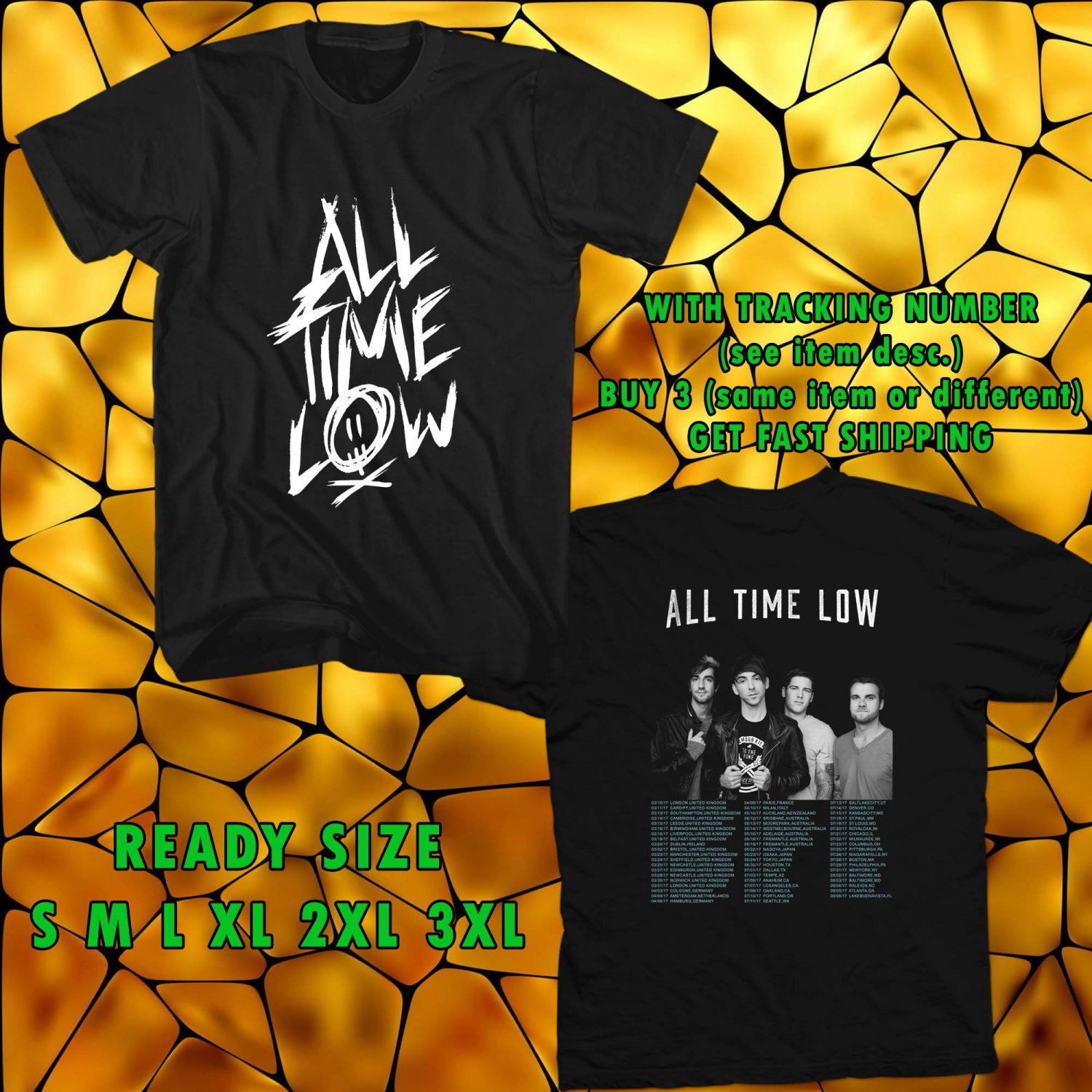 WOW ALL TIME LOW LAST YOUNG RENEGADE TOUR 2017 BLACK TEE S-3XL ASTR