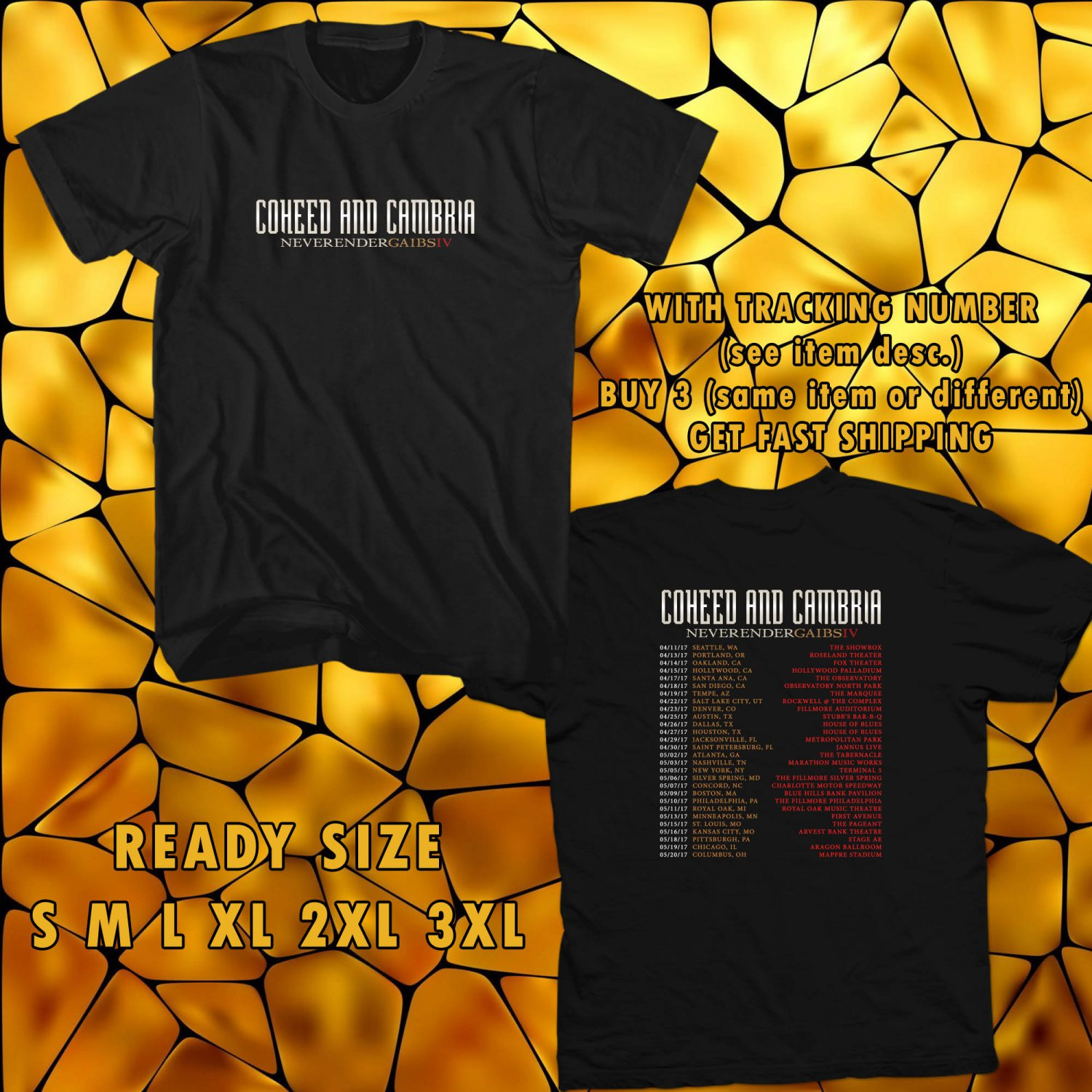 WOW COHEED AND CAMBRIA NEVERENDER GIBS IV ALBUM TOUR 2017 BLACK TEE S-3XL ASTR