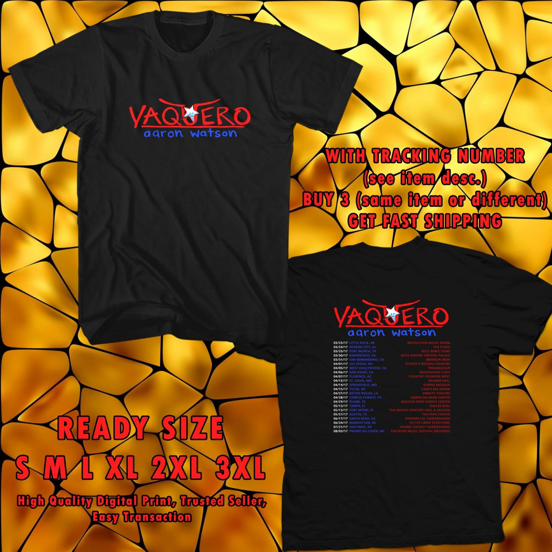 NEW AARON WATSON VAQUERO TOUR 2017 black TEE W DATES DMTR