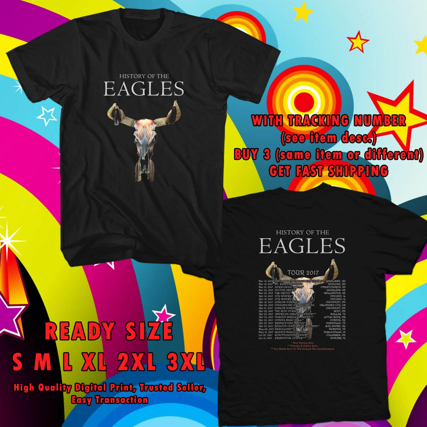 NEW EAGLES BAND FOR CREW TOUR 2017 black TEE W DATES DMTR