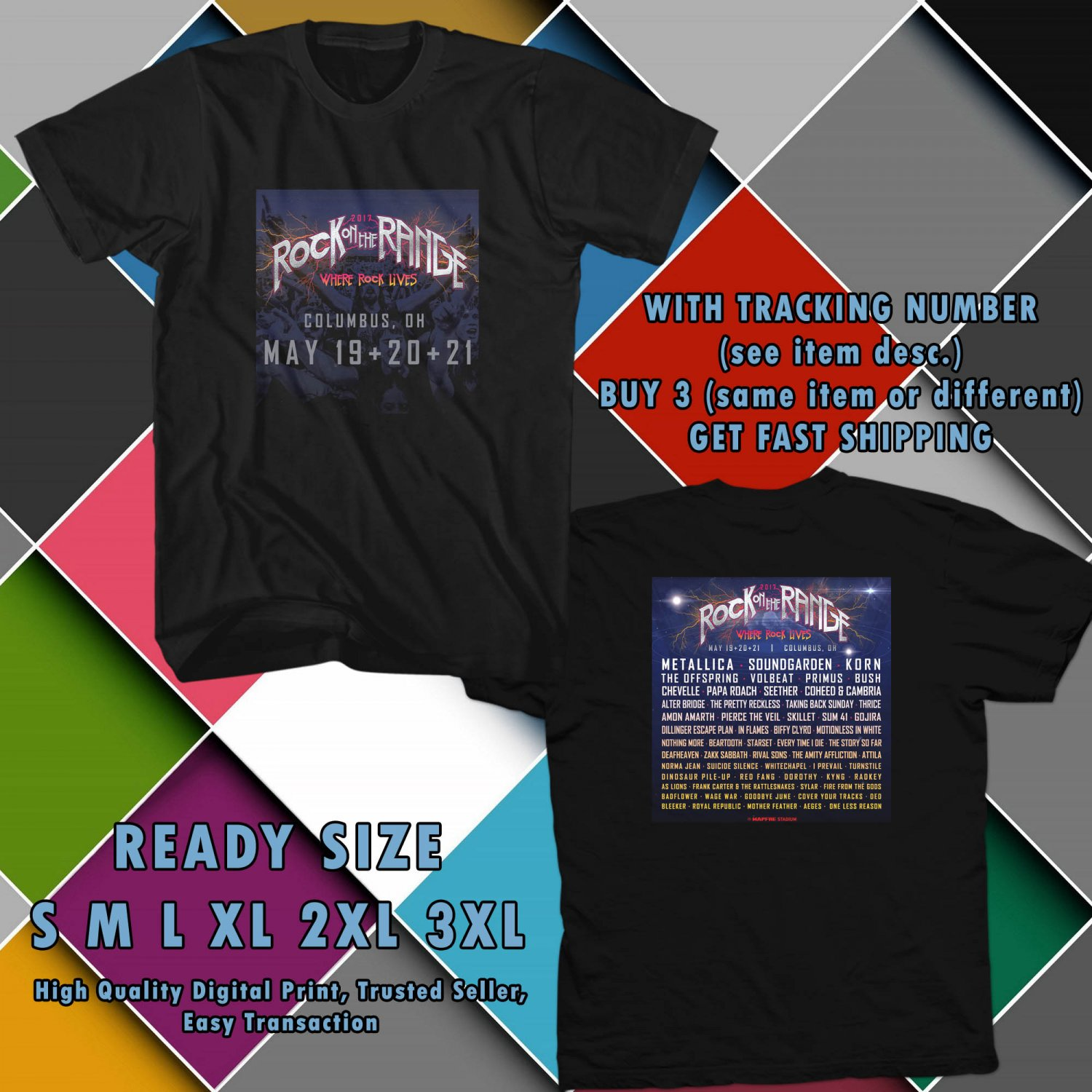 NEW ROCK ON THE RANGE FESTIVAL MAY 2017 black TEE W DATES DMTR 332